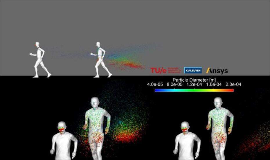 Simulação mostra a nuvem de partículas exalada por uma pessoa correndo a 14,4 km/h; os pontos vermelhos representam as partículas maiores, geralmente consideradas mais contagiosas, mas sem confirmação de pesquisa de virologia (Reprodução)