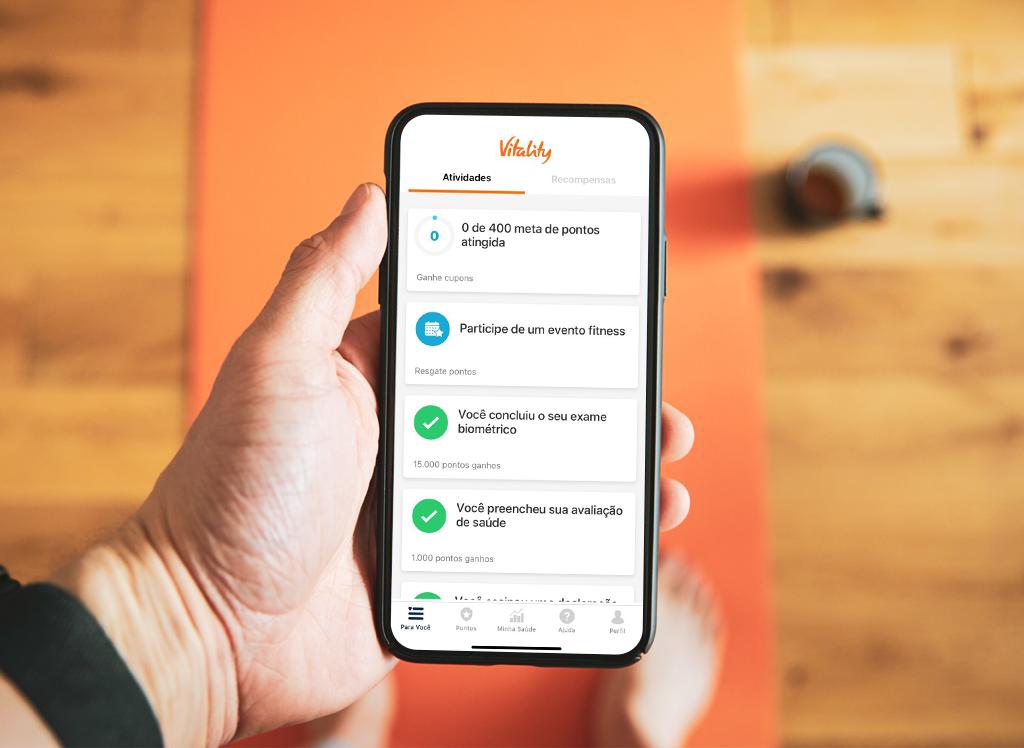 O aplicativo da Vitality, que oferece benefícios em troca de metas para uma vida mais saudável (Divulgação)